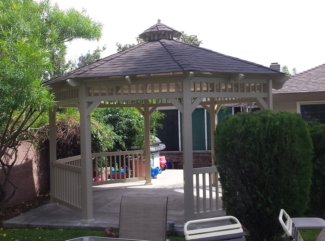 solid roof vinyl gazebo installed in southern california
