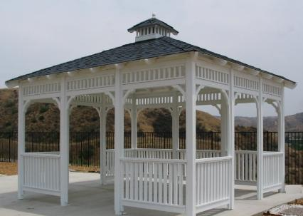 The La Jolla Square Wood Gazebo with Composition Shingle Roof
