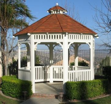 Octagon Single Solid Composition Roof Wood Gazebo The Malibu 10 ft