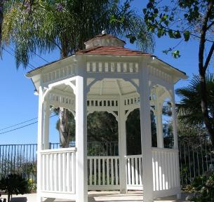 Solid Roof Wood Gazebo 8 foot with Crown