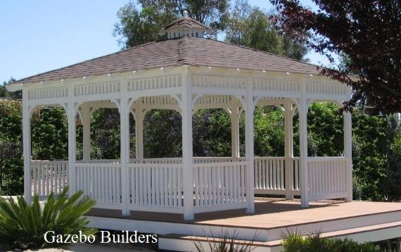 14' ft. Square Wood Gazebo on Composite Wood Deck